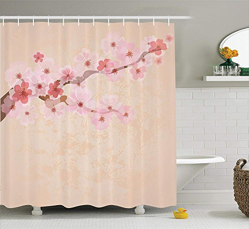 Japanese Decor Shower Curtain Set, Pink Cherry Blossoms on Branch Vintage Textured Flourishing Romantic Season Art Picture, Bathroom Accessories, 60W X 72L Inche Long, Soft Pink