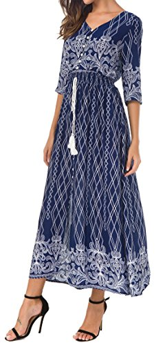 3d3ba6cf0205 KorMei Damen Blumen Maxikleid Bohemien 3 4 Arm A-Linie Lang Kleider  Sommerkleid Partykleid Blau Weiß M