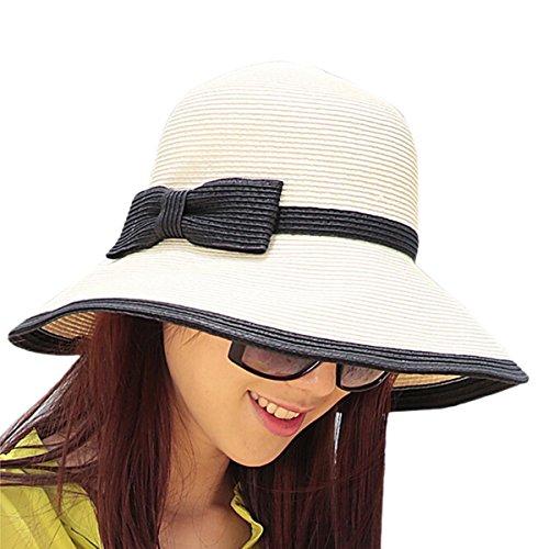 Butterme Femmes Bohemia Grand Brim rouler plage Chapeau de paille pliable Anti-UV chapeau chapeau de seau Avec paquet de carton Blanc + Noir