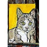 Katze-Malerei auf Leinwand handgefertigt Karton, cm10x15cm Größe.MADE IN ITALY Lucca, Zertifikat.