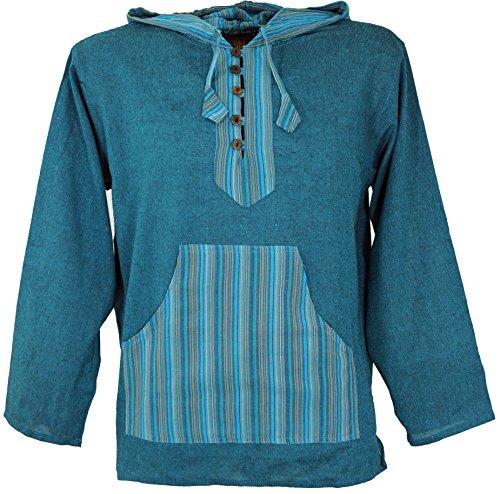 Guru-Shop Yoga Hemd, Goa Hemd, Patchwork Sweatshirt, Herren, Türkis, Baumwolle, Size:XL, Männerhemden Alternative Bekleidung