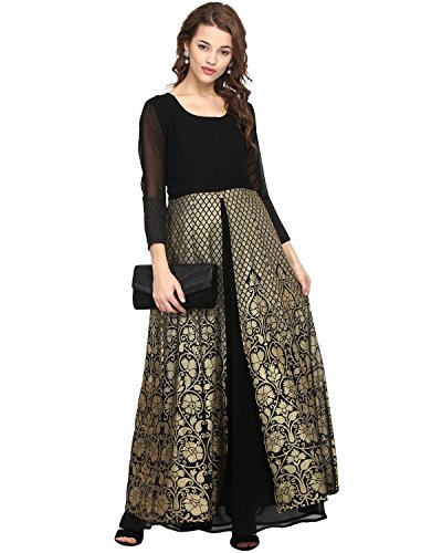 Ahalyaa Black Colored 3/4th Sleeve And Round Neck Georgette Kurti