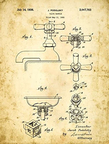 Homebody Akzente Bad Wasserhahn Patent Zeichnen Metall Schild, Vintage, Bad, Badezimmer, Steampunk, industrieller Décor - Patent-metall