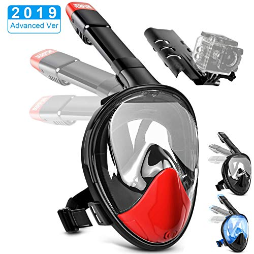 Jerfun Tauchermaske Schnorchelmaske Vollmaske Tauchmaske Vollgesichtsmaske mit Anti-Fog Anti-Leck, Abnehmbare Kamerahalterung und Schnalle für Erwachsene und Kinder (Rot, S/M)