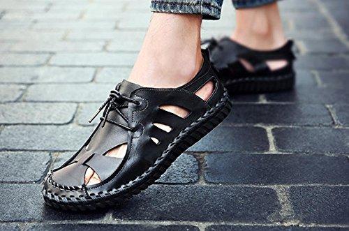 Chaussures de plage 2017 été nouvelle chaussures de plage sandales en cuir chaussures décontractées antidérapantes Black