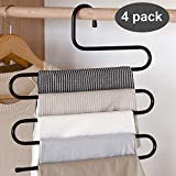 Homefox Hanger Multi-Layer S-Shape Saree Pant Trouser Style Hanger Closet Organizer Storage Stainless Steel Rack Space Saver for Tie Scarf Shock Jeans Towel Clothes(4 Pc)