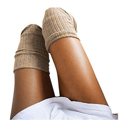 Damen Overknees Socken FORH Frauen Klassisch lange Baumwolle Halterlose Strümpfe Reizvolle Strumpfhosen Strümpfe warm Stricken Kniestrümpfe Elastisch Sportsocken (Khaki)