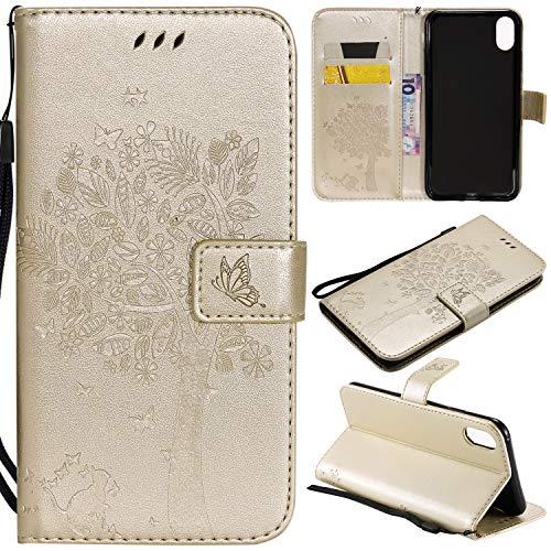 Artfeel Flip Brieftasche Hülle für iPhone Xr, iPhone Xr PU Leder Golden Hülle Geprägt Baum Schmetterling Blume Muster,Bookstyle mit Kartenfächer Magnetisch Stand Handyhülle -