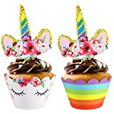 TOYMYTOY Cupcake Toppers Papier Cupcake Wrappers,24 Pièces Decoration Gateau Licorne Gamins Deco Licorne Anniversaire
