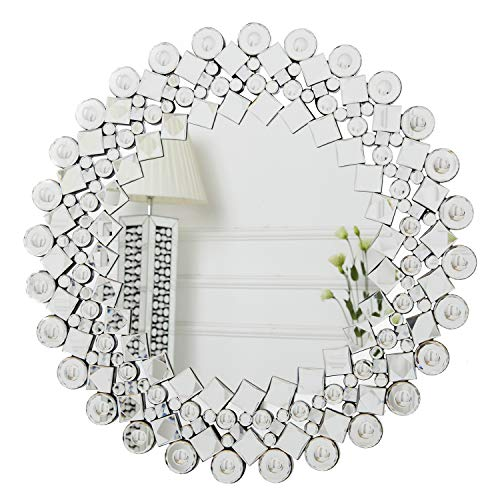 RICHTOP Wandspiegel groß Rund Sunburst Design, Schwarz Holz Backing, Silber Wand Schminkspiegel mit Glitzer Jeweled Kristall, Makeup Spiegel Wandmontage für Wohnzimmer, Flur, 70x70cm