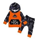 Riou Kinder Langarm Halloween Kostüm Top Set Baby Kleidung Set Kleinkind 2 Stücke Infant Baby Mädchen Jungen Spinne Hoodie Tops + Hosen Halloween Kleidung Set (80, Orange)