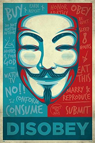 Close Up Póster V For Vendetta - Disobey [Máscara] (61cm x 91,5cm) + 1 póster...