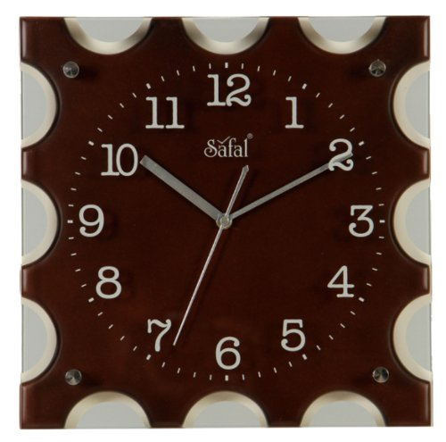 Safal Wooden Wall Clock (30.48 cm x 30.48 cm, Brown, SQ 1084)