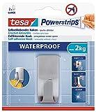 tesa Powerstrips Haken wasserfest/Selbstklebende Halterung aus rostfreiem Edelstahl für Dusche, Bad und Küche, max. 2 kg (2 Packungen)