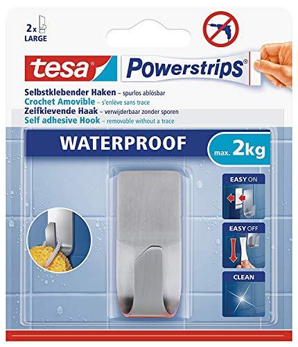 tesa Powerstrips Haken wasserfest/Selbstklebende Halterung aus rostfreiem Edelstahl für Dusche, Bad und Küche, max. 2 kg (6 Packungen) (Power-strip-pack)