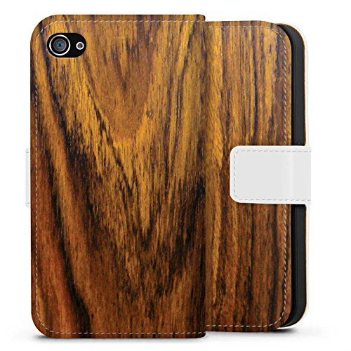 Apple iPhone 7s Hülle Case Handyhülle Holz Look Königsholz Holzboden Sideflip Tasche weiß