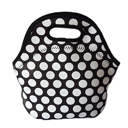 Borsa termica per il pranzo Borsa Pranzo Picnic Sacchetti Fiori gocce a pois, a righe tinta unita da donna borsetta per bambini e bambine Blue spots White spots