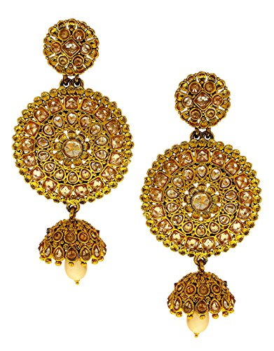 Anuradha Art Golden Finish Chanbali Pattern Zumki Studded With Peach Colour Stones Traditional Earrings For Women/Girls