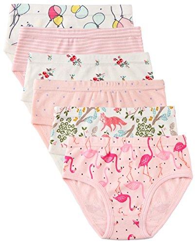 6 Pack Kleines Mädchen Unterwäsche Baumwolle Fit Alter 1-7, Baby Mädchen Höschen Kleinkind Mädchen Unterwäsche (Flamingo, 1-3 Jahre/Herstellergröße 100)