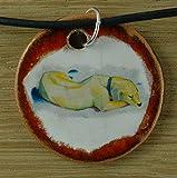 Echtes Kunsthandwerk: Hübscher Keramik Anhänger nachempfunden Liegender Hund im Schnee von Franz Marc ; Künstler, Maler, Expressionismus, Gemälde, Kunstdruck