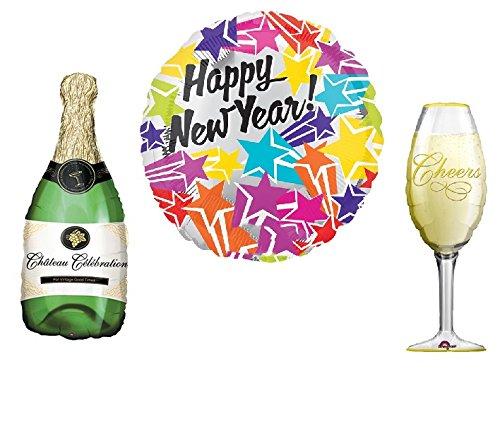 Preisvergleich Produktbild LAST MINUTE SONDERANGEBOT - XL Silvester - Folienballons Kombipaket | Sektflasche + Champagnerglas + Happy New Year | Premiumqualität | Ideal für Silvesterparty & Neujahr Party |
