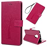 Edauto Huawei Mate 20X Handyhülle Hülle Wallet Flip Case Eule Baum PU Leder Schutzhülle Bookstyle Handytasche Brieftasche Kartenfach Ständer Magnetisch Ledercover Klapptasche Handyschale Rose rot