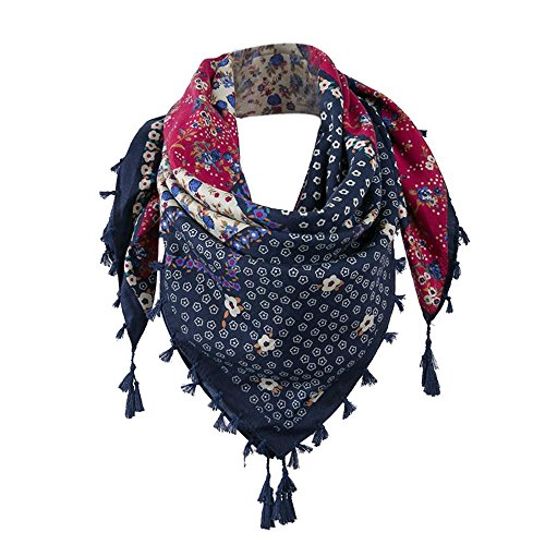 Odejoy sciarpa con scialle in nappa con stampe floreali da donna elegante biancheria cotone sciarpa di bordatura di autunno e inverno etnico motivo floreale scialle scialle tende (navy)