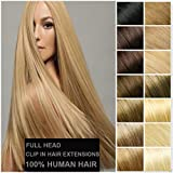 """Human Hair Clip In Extensions Full Head Hairpiece 16""""-22"""" 7pcs Standard Light Weft Grade 7A Quality Thick Long..."""