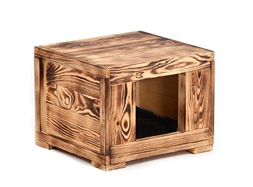 Wohnhöhle \'Woody\' für Ihr Haustier (Katzen, kleine Hunde) aus Holz in geflammter Optik