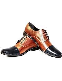 Modello Orione - 44 EU - Cuero Italiano Hecho A Mano Hombre Piel Naranja Zapatos Vestir Oxfords - Cuero Cuero Repujado - Encaje