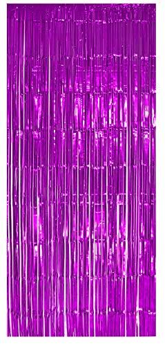selbstklebender Lametta Vorhang in pink Größe 91 x 244 cm Perfekt als Party Deko Fenstervorhang Foto Hintergrund glitzer Vorhänge Metallfolie Goldfolie Streifenvorhang Fensterdekoration Tür Farbe Pink