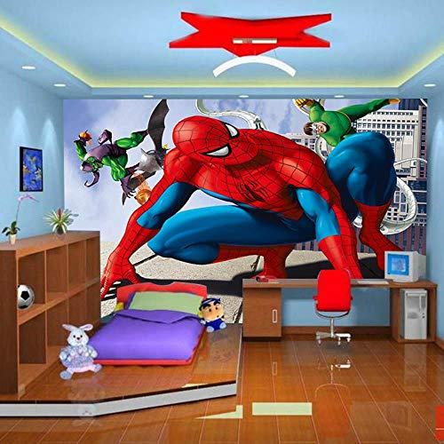 NXMRN 3D Anime große Wandfarbe, Motiv: Superman Spiderman Iron Man Tapete Kinderzimmer Kinderzimmer Tapete abziehbar | Tapete selbstklebend