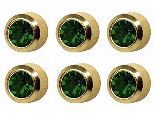 erald Große 5mm Gold Plated Lünette Einstellung Ohr Piercing Ohrstecker Birthstone (Emerald Green Ohrringe Modeschmuck)