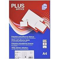 Plus Office 10677 - Etiquetas autoadhesivas de cantos rectos, 1600 eti/caja, 105 x 35 mm, blanco