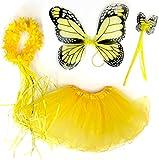 Tante Tina - 4-pièces Déguisement de fée papillon - Ailes, Baguette, Serre-tête et Jupe - Monarque Jaune