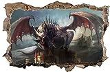 DesFoli Drache Dragon Fantasy 3D Look Wandtattoo 70 x 115 cm Wanddurchbruch Wandbild Sticker Aufkleber D624
