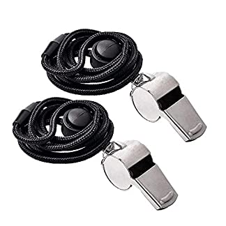 Ouway Metal Sports Whistle Breakway Neck Lanyard 2 Pack Football Referee Coach Umpire Stainless Steel 1