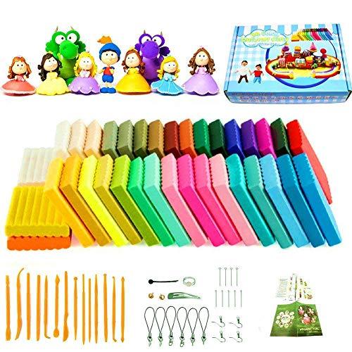 Polymer Ton 36 Farben Clay, Ofen backen Kinderknete Weiche DIY Lehm Moulding Craft, Safe und ungiftig Modelliermasse Modellierung Set und Werkzeuge, Bestes Geschenk für Kinder,Weihnachtsgeschenk