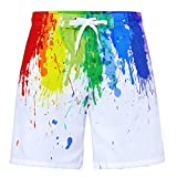 Funnycokid Jungs 3D Surfen Sweatpants Shorts Funky Bunte Tinte Sommer Strandhose Schwimmen Badeshorts Kinder Badeanzug 6-8 Jahre