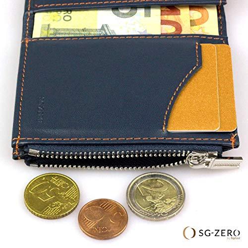 nuovo prodotto d0ada fa5c0 Portafoglio da uomo blu/arancione, portamonete in vera pelle ...