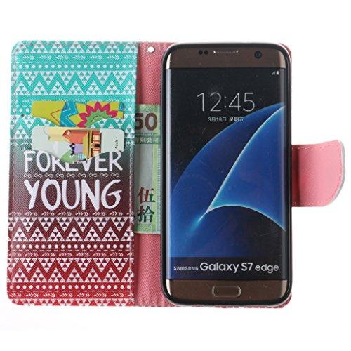JGNTJLS Custodia a libro, per iPhone 6/6S da 11,9 cm (4,7), con salvaschermo in vetro temperato, in similpelle PU di alta qualità, con scomparti per carte di credito, ultra sottile, funzione cavallet Pink,Forever Young