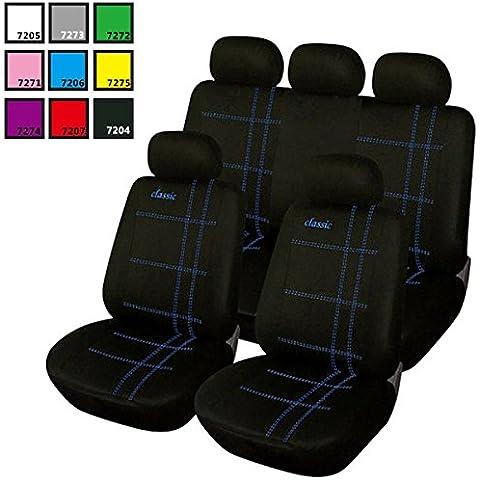 Universal asiento de coche Set Fundas de asiento schonbezüge Classic Negro/Azul as7206