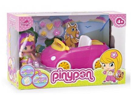Pinypon la voiture pique-nique + 1 figurine - voiture rose