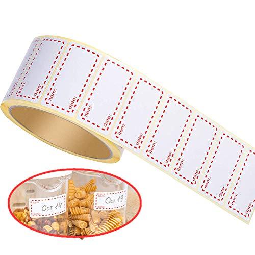 LATERN 500 Stücke Gefrieretiketten, Lebensmittelspeicher Gefrierschrank Selbstklebende Aufkleber Abnehmbarer Kühlschrank Gefrierschrank Date Etiketten - 5 x 2,5cm