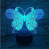 Mariposa 3D Night Night Touch Switch 7 Cambio de Color Led Lámpara de Mesa Usb Luces Nocturnas Decoración Niños Juguete de Regalo