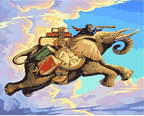 Pintura al óleo de DIY by números Elefantes Animales Pintura acrílica by...