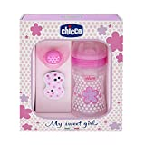 Chicco Wellbeing - Set de regalo con biberón, chupete y clip de silicona, color rosa