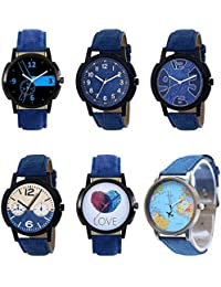 NEUTRON Latest 3D Design Love Earth Black Blue And Brown Color 6 Watch Combo (B7-B8-B9-B10-B11-B64) For Boys And...