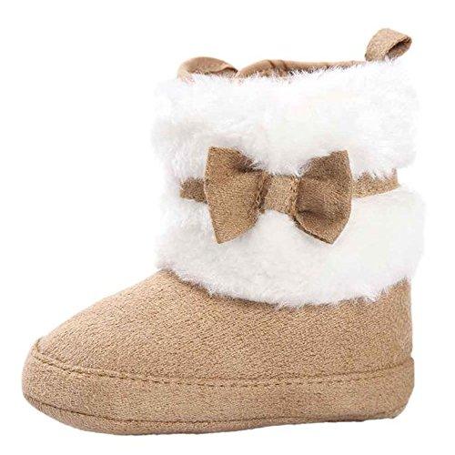 Baby Stiefel, FNKDOR Mädchen Jungen Rutschfest Weiche Bowknot Schuhe für Neugeborene 0-18 Monate (6-12 Monate, Kaki)