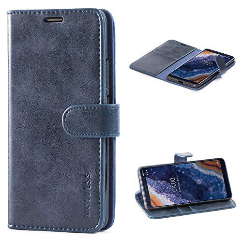 Mulbess Custodia per Nokia 9 PureView, Cover Nokia 9 PureView Pelle, Flip Cover a Libro, Custodia Portafoglio per Nokia 9 PureView, Navy Blu